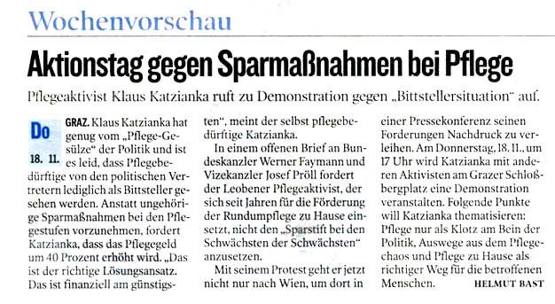 """Aktionstag gegen Sparmaßnahmen bei Pflege"""